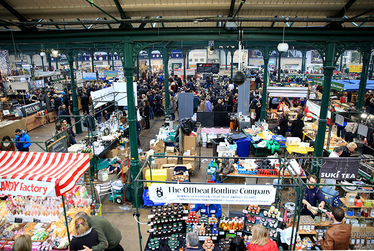 View over St. George's Market from an indoor balcony overlooking the stalls