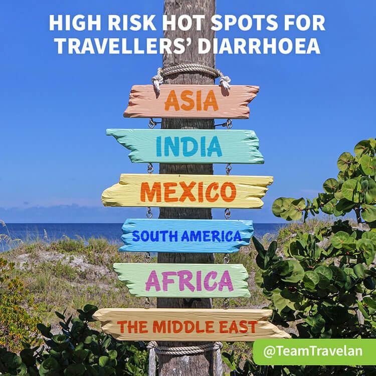 List of high risk destinations for traveler's diarrhea