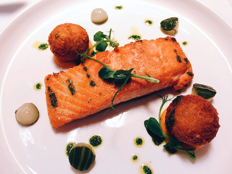 Whisky cured salmon with potato croquettes at Bushmills Inn