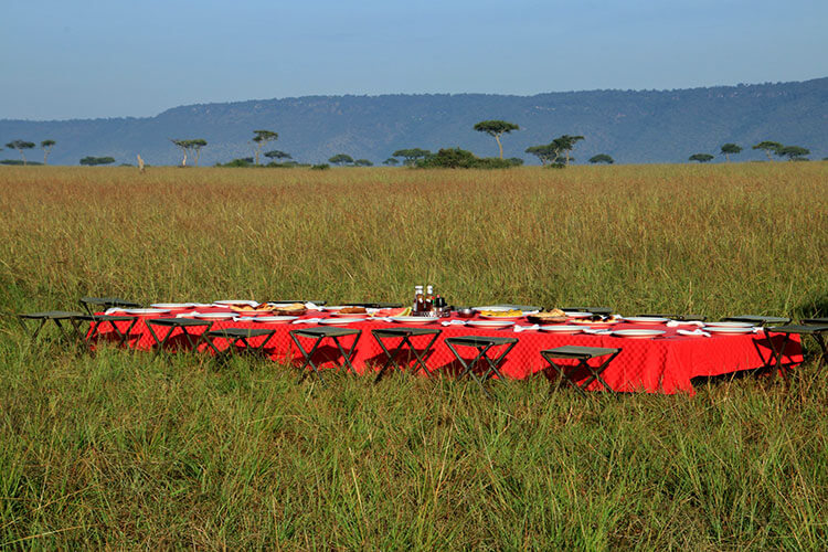 A long table is set up for the bush breakfast after hot air ballooning in the Masai Mara