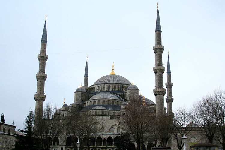 The domes and spires of the Blue Mosque in Istanbul