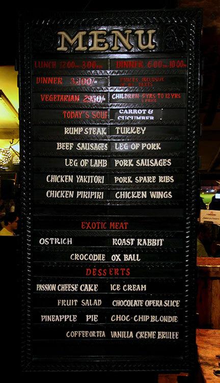 The menu at Carnivore Restaurant in Nairobi