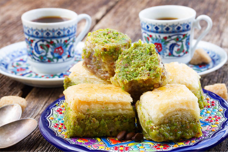 Turkish pistachio baklava and Turkish coffee