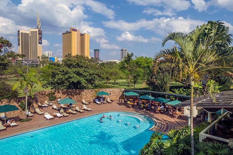The pool and gardens at Nairobi Serena Hotel