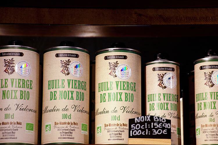 Walnut oil for sale in the shop of the Ecomusée de la Noix