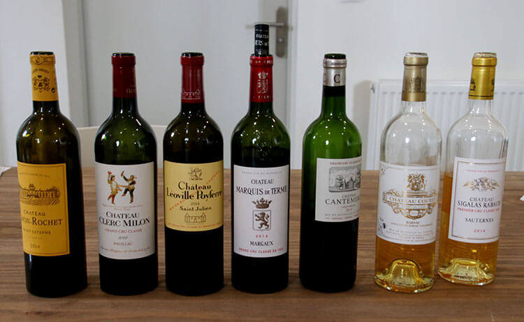 1855 Grand Cru Classé Workshop line-up of wines from vintage 2014