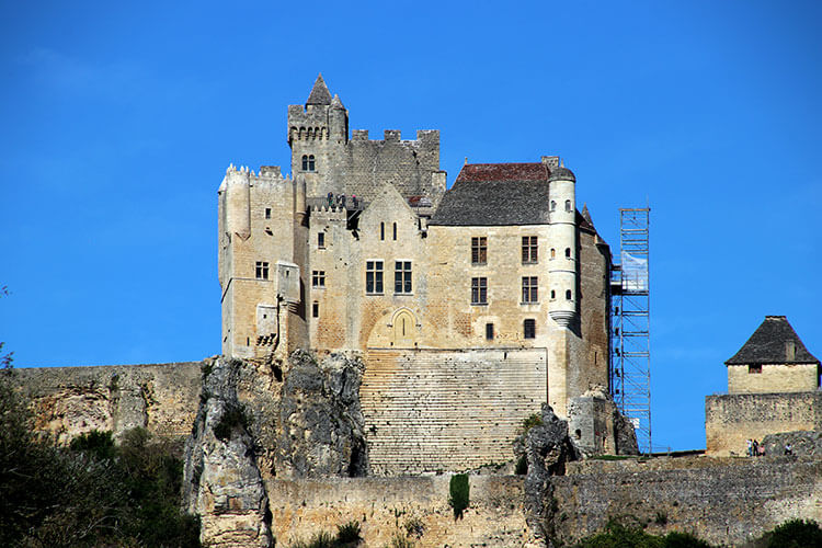 Château de Beynac seen from the side where it is easy to see it was carved out of the limestone