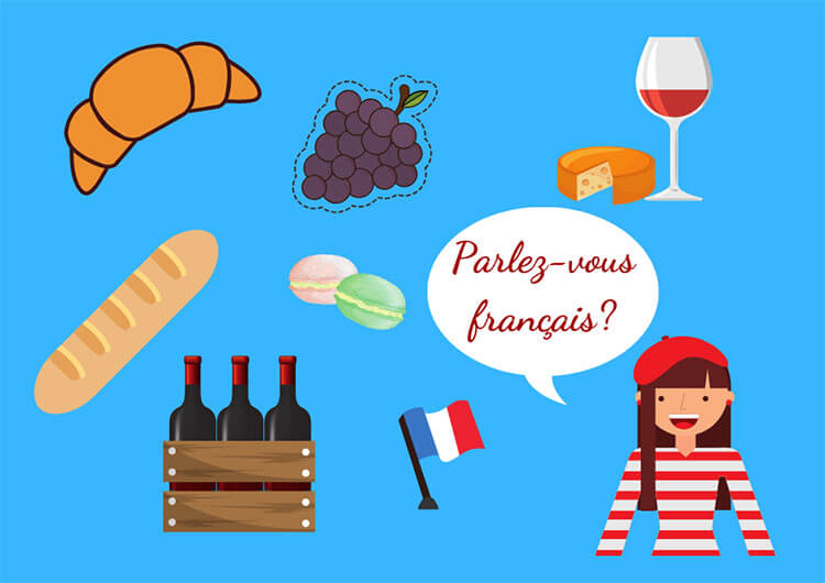 Graphic with cartoon French things like a croissant, macarons, wine, a French flag and cheese