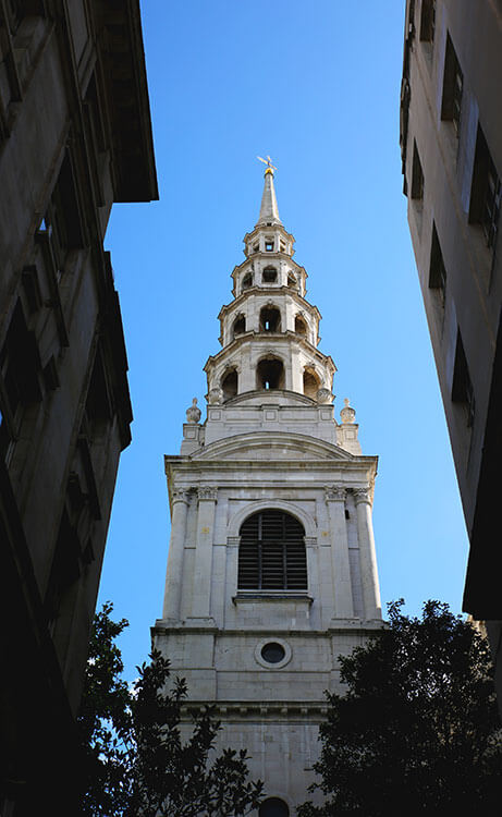 The tiered spire of St. Bridge's Church in London