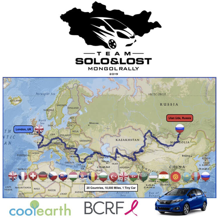 A map showing Tim's Mongol Rally route from London to Mongolia
