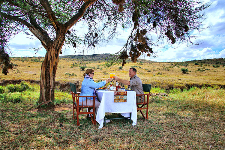 Jennifer and Tim toast with mimosas under a tree at a table set up for a bush breakfast in the Loisaba Conservancy in Kenya