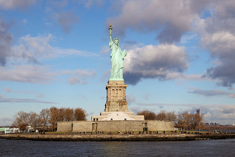View of the Statue of Liberty as you take the ferry over to Liberty Island in NYC
