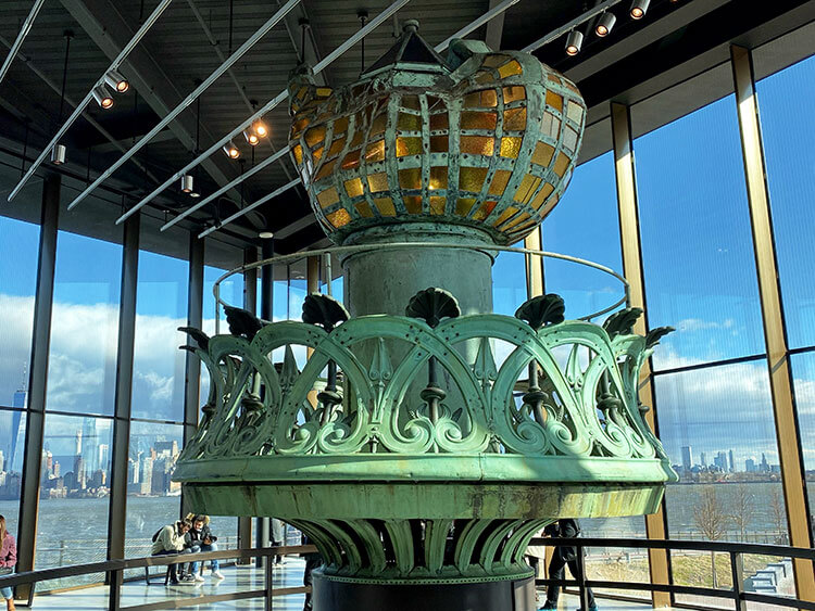 The Statue of Liberty's original torch is on display in the Statue of Liberty Museum