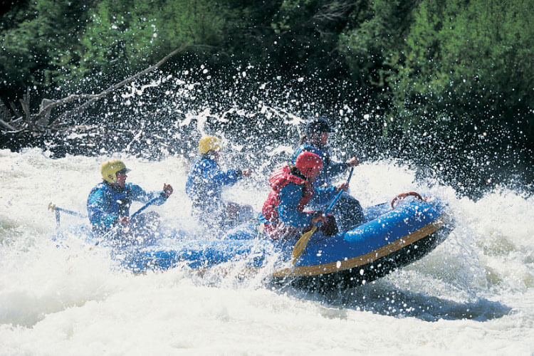 A group of white water rafters paddle through spray on a rapid