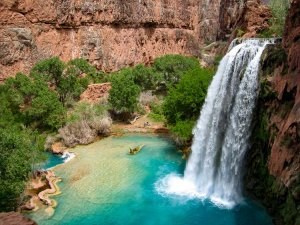 Havasu Falls turquise water in Havasupia Indian Reservation, Grand Canyon Arizona