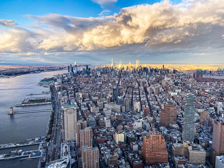 The view up toward Central Park from One World Observatory