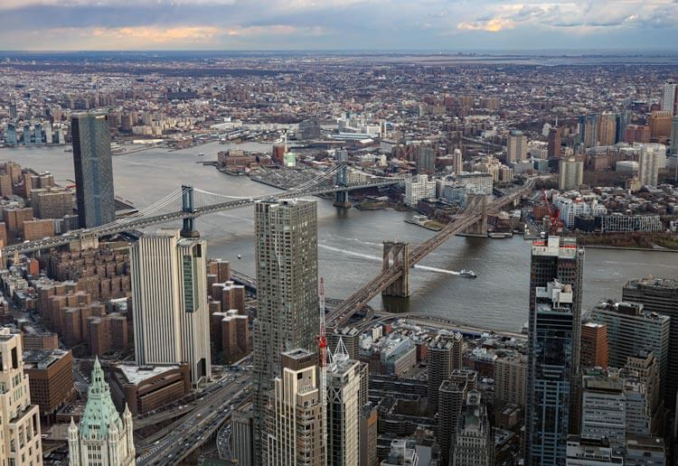 The Brooklyn and Manhattan Bridges seen from One World Observatory