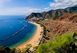 An aerial of the golden sand Las Teresitas beach in East Tenerife