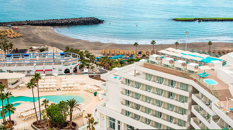 An aerial of the Iberostar Sabila on the beach in Tenerife with the various pools visible