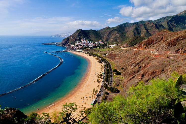 An aerial of the golden sand Las Teresitas beach in East Tenerife