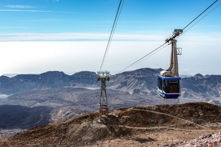 The Teleférico del Teide cable car passes by as we ride it back down Mount Teide