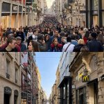 A split before and after. Before is a crowded Rue Sainte-Catherine with a sea of people in January and after a lone person walks way down Rue Sainte-Catherine in Bordeaux, France during the Coronavirus lockdown