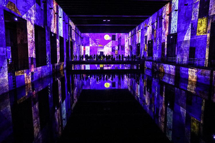 Works of Gustav Klimt are digitzed and displayed as digital art works inside a former German u-boat submarine base at the Bassins de Lumières in Bordeaux
