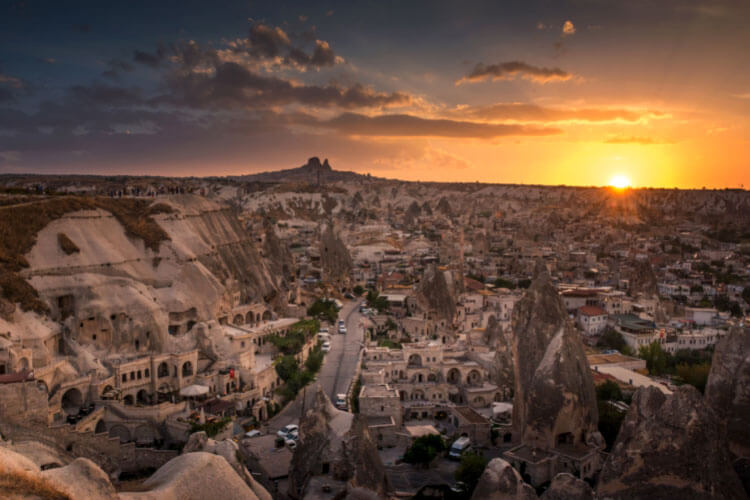 A view over the fairy chimneys of Cappadocia at sunset