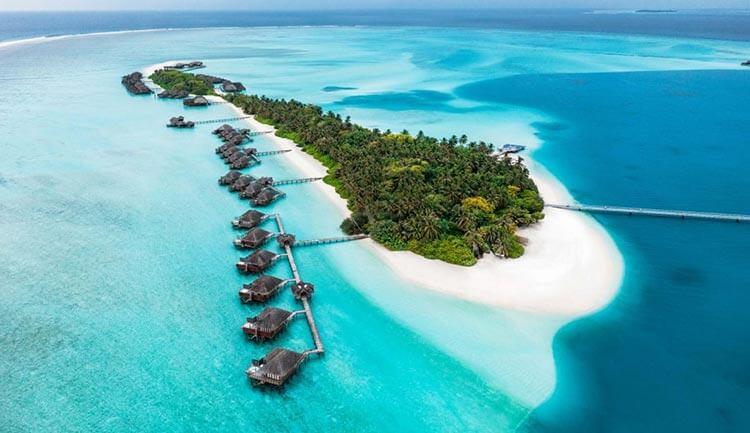 Aerial view of Conrad Maldives Rangali Island